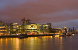 London lights 1. Night view of Thames and buildings on its south shore, London, UK Royalty Free Stock Photography