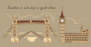 London Line Sepia Composition stock illustration