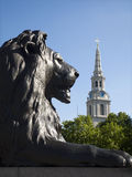 London - lion from Nelson memorial Stock Photography
