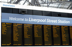 London Liverpool Street station Departure board on April 17 Royalty Free Stock Images