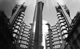 London Lloyds Building. Greyscale photo of the Lloyds Building in London Royalty Free Stock Photos