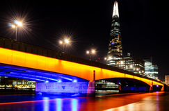 London, London Bridge at night. London, London Bridge and skyline at night Stock Photo