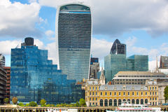 LONDON, LONDON UK - SEPTEMBER 19, 2015 - City of London view, modern buildings of offices, banks and corporative companies Stock Photo