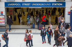 LONDON,LONDON, UK - SEPTEMBER 12, 2015: Liverpool street train station with lots of people Stock Image