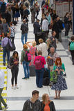 LONDON,LONDON, UK - SEPTEMBER 12, 2015: Liverpool street train station with lots of people Stock Photos