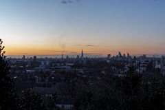 London, Long Shot, clean bright sky, sunset. London in Winter. Fairly clean sky, with few clouds. Shard, London Eye, Walkie-Talkie in the City of London is royalty free stock photos