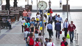 London. Lots of people walking in Canary Wharf business aria. LONDON, UK - JULY 03, 2014: Lots of people walking in Canary Wharf business aria stock footage