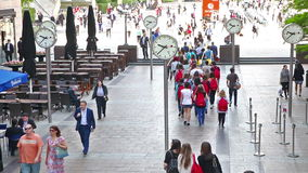 London. Lots of people walking in Canary Wharf business aria. LONDON, UK - JULY 03, 2014: Lots of people walking in Canary Wharf business aria stock video footage