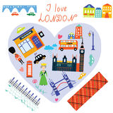 London love card with funny landmarks Stock Image