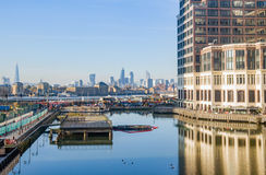 London low docks train Thames view with downtown Stock Image