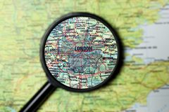 London magnified on a map Royalty Free Stock Image
