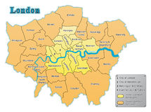 London map. With all boroughs. Place of Summer Olympic Games 2012. Fully editable vector, data are in layers Stock Photo