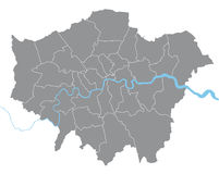 London  map. Illustration with all boroughs on separate layer Stock Photo