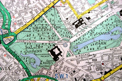 London map. Showing Buckingham palace Royalty Free Stock Photo
