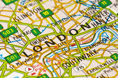 London Map. Close-up of a London map, England, UK Stock Photography