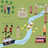 London map in cartoon style Royalty Free Stock Photography