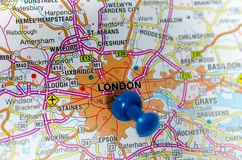 London on map. Macro shot of London on map with push pin Stock Images