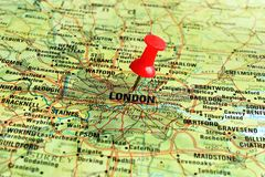 London on map with pointer. Close up of London on a map with red pin Royalty Free Stock Photos