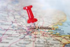 London map. Red tack in a map of London England Stock Images