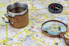 London Map And Travel Items Stock Image