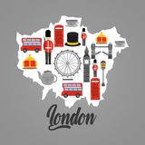 London map with uk landmark symbol inside. Vector illustration Stock Photos