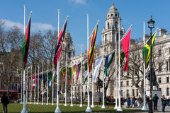 LONDON - MAR 13 : Flags Flying in Parliament Square in London on Royalty Free Stock Photos