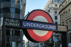 LONDON - MAR 13 : A Typical London Undergroud Sign in London on Royalty Free Stock Image