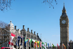 LONDON - MAR 13 : View of Big Ben across Parliament Square in Lo Stock Photos