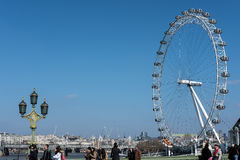 LONDON - MAR 13 : View of the London Eye in London on Mar 13, 2016. Unidentified people. royalty free stock photography