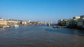 LONDON - MAR 13 : View towards HMS Belfast and Tower Bridge in L Royalty Free Stock Images