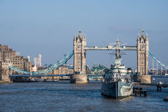 LONDON - MAR 13 : View towards HMS Belfast and Tower Bridge in L Stock Image
