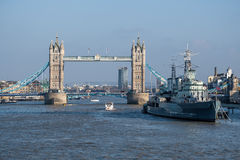 LONDON - MAR 13 : View towards HMS Belfast and Tower Bridge in L Royalty Free Stock Image