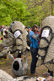 The London Marathon. Runners for Save the Rhino charity have help putting on their Rhino costumes before the start of the London Marathon, in Greenwich park on Royalty Free Stock Photos