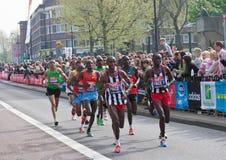 London Marathon 2011. Virgin London Marathon 2011 (17 April 2011) - leading group of runners, including male winner - Emmanuel Mutai (Kenya) and runner-up Stock Image