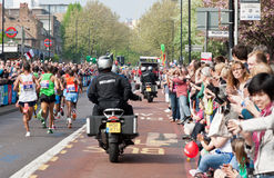 London Marathon 2011. Virgin London Marathon 2011 (17 April 2011) - leading group of runners, including male winner - Emmanuel Mutai (Kenya) and runner-up Stock Images