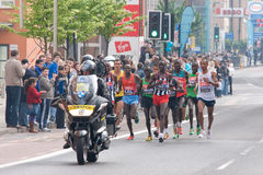 London marathon 2011- Elite men athletes. 7 miles in to the race. Winner - Emannuel Mutai in a leading group Royalty Free Stock Photography