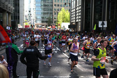 London Marathon in Canary Wharf aria Royalty Free Stock Photo