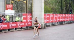 London marathon elite women. KIM SMITH battling in the last 200 metres to the finishing line Royalty Free Stock Photos