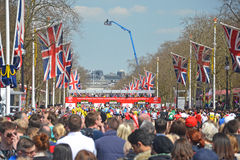 London Marathon Finish Line. LONDON, APRIL 21: View down the Mall to the finishing line of the London Marathon in London, UK on April 21, 2013. Run annually, the Royalty Free Stock Image