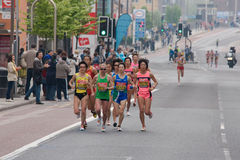 London marathon - group of Japanese elite racers. London marathon 2011. Akaba Yukiko from Japan, 6th place Royalty Free Stock Photography
