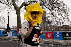 London Marathon runner. LONDON, UK - APRIL 21: London Marathon runner dressed as a daffodil in support of Marie Curie Cancer Care on April 21, 2013 in London, UK Royalty Free Stock Image