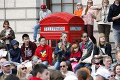 2013 London Marathon. London, UK - April 21, 2013: Supporters watch and cheer thousands of marathon runners. The London Marathon is next to New York, Berlin Stock Image