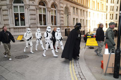 Darth Vader And Stormtroopers Out And About In Londons Trafalgar Royalty Free Stock Images