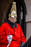 LONDON - MARCH 6 : Lifeguard of the Queens Household Cavalry on Royalty Free Stock Photography