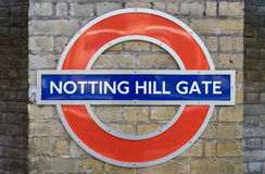 London - March 30: Notting Hill Gate Underground station sign on Royalty Free Stock Image