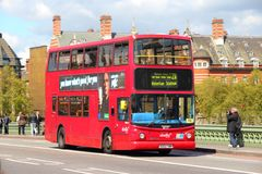 Doubledecker in London. LONDON - MAY 16: People ride London Bus on May 16, 2012 in London. As of 2012, LB serves 19,000 bus stops with a fleet of 8000 buses. On Royalty Free Stock Images