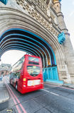 LONDON - MAY 2013: Red Double Decker bus along city streets. Lon Stock Photo