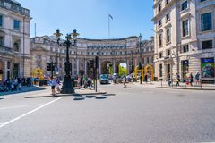 Admiralty Arch in Trafalgar Square, London UK. LONDON MAY 05, 2018: View of Admiralty Arch - a landmark building in London which incorporates an archway Royalty Free Stock Photography