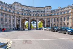 Admiralty Arch in Trafalgar Square, London UK. LONDON MAY 05, 2018: View of Admiralty Arch - a landmark building in London which incorporates an archway Royalty Free Stock Photos