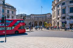 Admiralty Arch in Trafalgar Square, London UK. LONDON MAY 05, 2018: View of Admiralty Arch - a landmark building in London which incorporates an archway Stock Photography